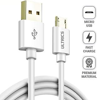 ULTRICS Cable Micro USB 3 Metros , Carga Rápida Macho A a Micro USB 2.0 Alta Velocidad Datos de Sync Cable Cargador Movil Compatible con Samsung, LG, PS4 Xbox y Otros Android – Blanco