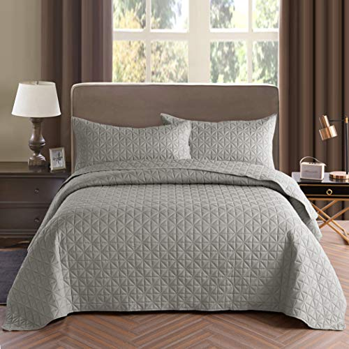 Exclusivo Mezcla 3-Piece King Size Quilt Set with Pillow Shams, as Bedspread/Coverlet/Bed Cover(Grid...