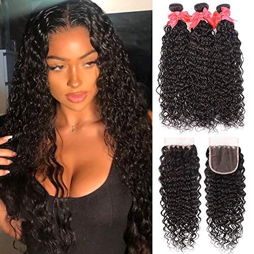 Water Wave 3 Bundles with Closure 8A Ocean Wave Bundles with Closure Wet and Wavy Human Hair Weave 3 Bundles with Closure (18 20 22+16, Natural Color)
