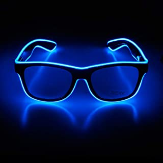 Aquat Light up Rave Neon El Wire Glasses Glow LED Sunglasses Costumes For Party Halloween RB01 (Blue Black Frame)