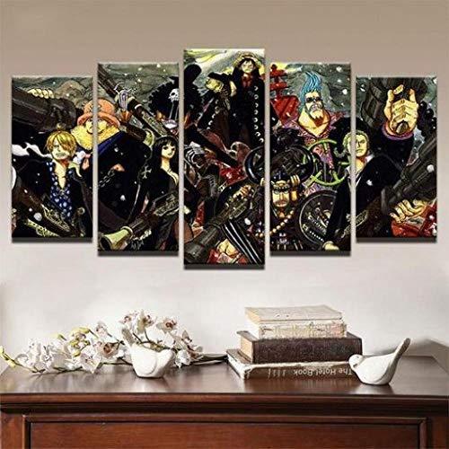 WUZHIXIN 5 Piezas Cuadro sobre Lienzo De Fotos Lienzo Impresión Cuadros Decoracion Salon Grandes Cuadros para Dormitorios Modernos Mural Pared Listo para Colgar Dragón 06 - Anime