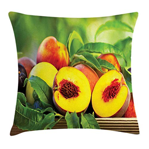 JIMSTRES Peach Throw Pillow Cushion Cover, Healthy Products of a Agricultural Countryside Basket with Harvested Food, Decorative Square Accent Pillow Case, Yellow Vermilion Green 20x20 inches