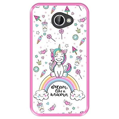 Hapdey Funda Rosa para [ LG K5 ] diseño [ Arcoiris, sueña como un Unicornio ] Carcasa Silicona Flexible TPU