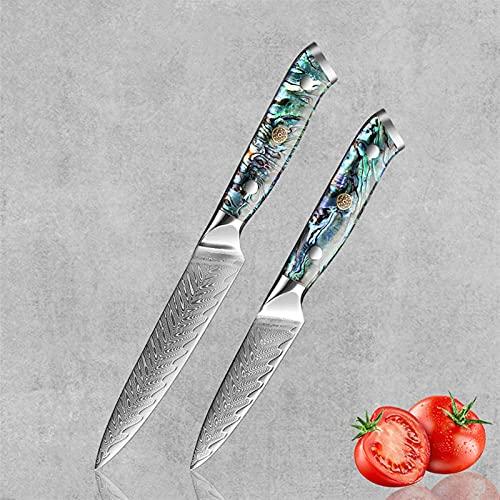 Nueva cocina Knurning Set Damasco Steel Sharp Chef Cuchillo Herramienta de cocina Carne Cutter Cutter Fruit Utility Santoku Cuchillo Cubiertos (Color : 2PCS B)