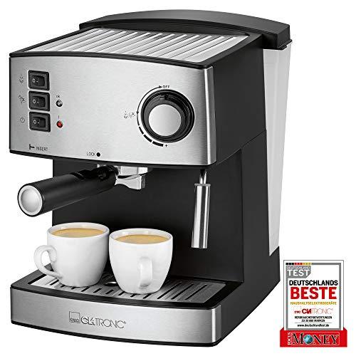 Clatronic ES 3643 Espresso- und Cappuccino-Automat, Edelstahlfront, 15 bar Pumpdruck, 1,6 Liter Wasserstand, Tassenvorwärmfunktion, Schwenkbare Edelstahldampfdüse mit Aufschäum- und Heißwasserfunktion