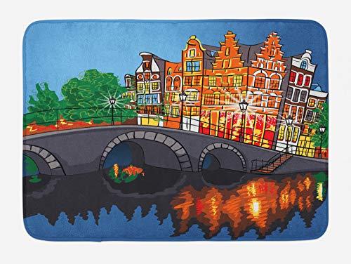 ABAKUHAUS Amsterdam Tappetino da Bagno, Night City Ponte-Canale, Vasca Doccia WC Tappeto in Peluche con Supporto Antiscivolo, 45 cm x 75 cm, Multicolore