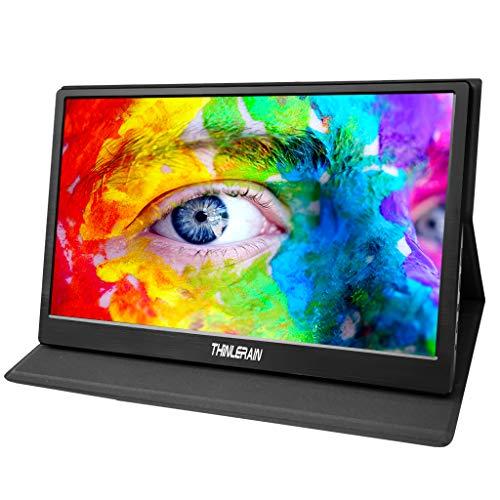 15.6'' Monitor Portatile HDMI 1920 x 1080P IPS Monitor con Micro USB Alimentato per Laptop, Mac, Computer, Xbox One, Raspberry pi, PS3 PS4, Altoparlanti Incorporati, Thinlerain