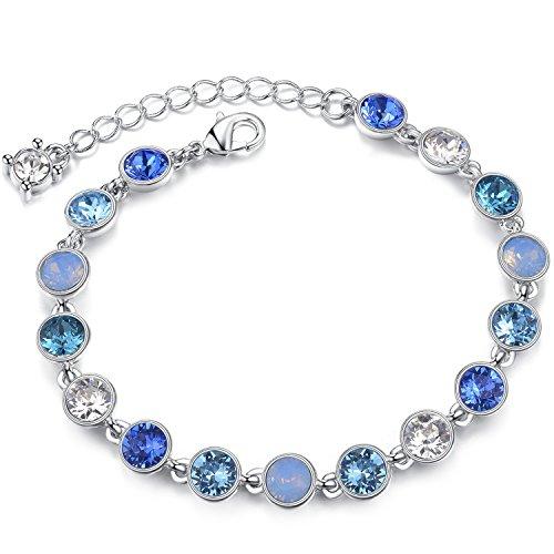 Le Premium® Sternenklarer Himmel Kristall-Armband Hergestellt mit 17pcs runde geformte Kristalle von Swarovski -Blau -Überzogen mit Rhodium