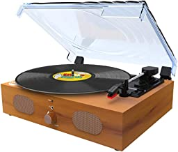 Record Player-Bluetooth LP Belt-Drive 3-Speed Turntable with Built in Stereo Speakers