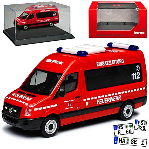 Volkwagen Crafter Transporter Hochdach Einsatzleitung Eschwege Feuerwehr Rot 2. Generation Ab 2016 mit Sockel und Vitrine H0 1/87 Herpa Modell Auto