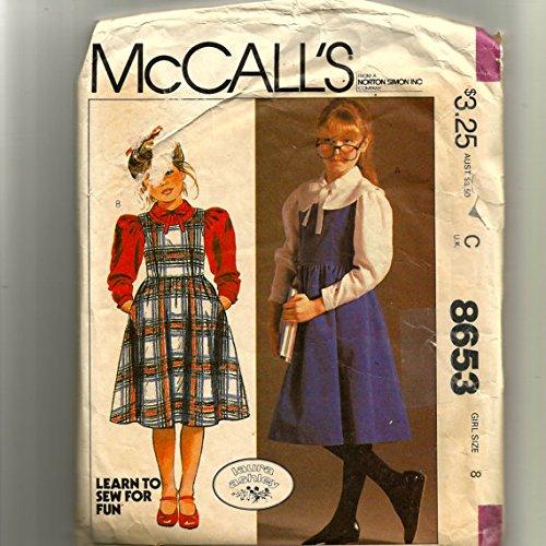 Uncut Vintage McCalls Girls Laura Ashley Sz 8 Jumper and Blouse Pattern 8653