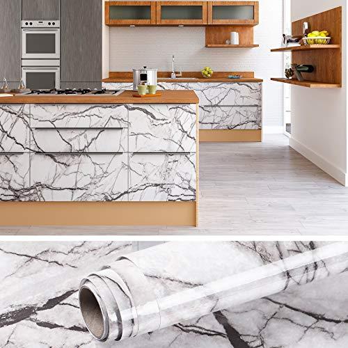 VEELIKE auto-adhésif gris granit cuisine comptoir papier peint cuisine dosseret marbre mur autocollant papier de contact étanche pour la rénovation de la table à manger 40cm x 900cm