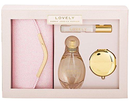 Sarah Jessica Parker Lovely Eau de parfum spray en rollerball met clutch tas en spiegel, 100 ml/10 ml