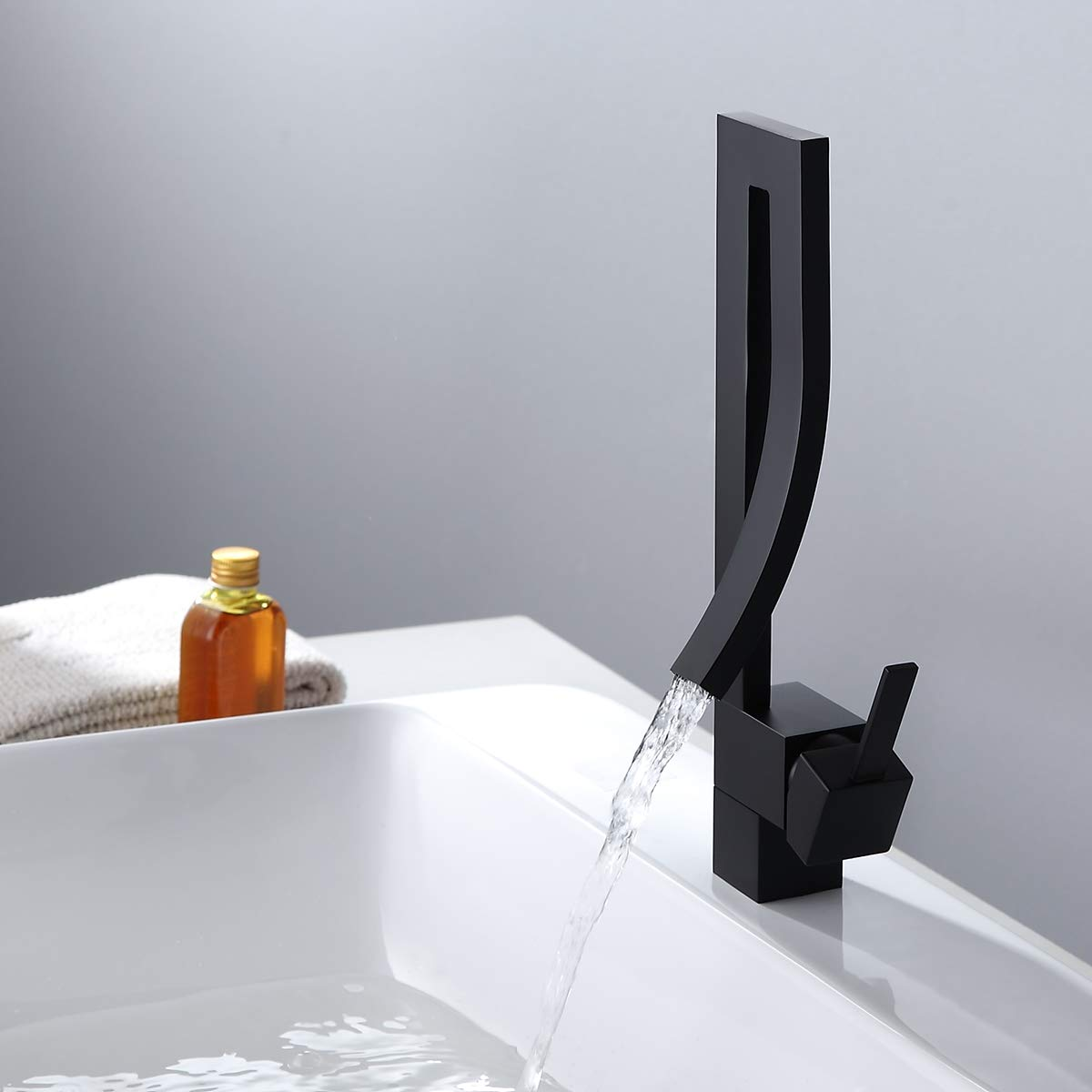 Jiuzhuo Modern Creative Design Single Lever Handle 1 Hole Bathroom Sink Faucet With Waterfall Spout Black Amazon Com