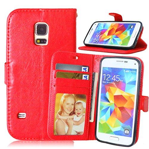 FUBAODA [Classic Funda Folio + Cable Libre para para Samsung Galaxy S5 Mini G800 (Rojo)