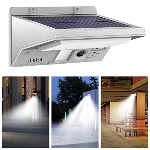 Solar Lights Outdoor Motion Sensor, iThird LED Solar Powered Security Lights Stainless Steel for Yard Patio Garage Waterproof 3 Modes Super Bright(Daylight)