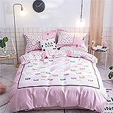 寝具セットダブルベッドサイズコットンピンク布団カバーセット起毛綿枕ベッドシートセットキルトカバーフラットシートツインキングダブルサイズベッドアダルト