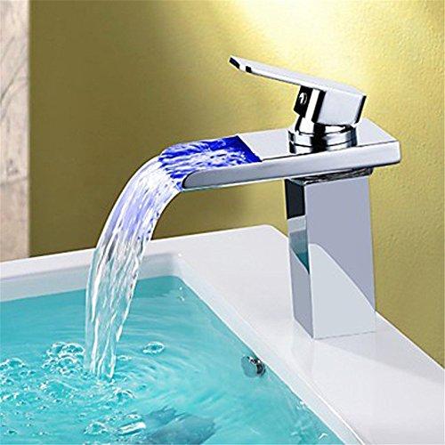 WasserhahnTap Cuivre matériel lumière LED Eau Cascade Chaude Froide Bassin d'eau Robinet Robinet de lavabo Table Haute
