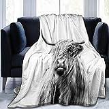 Chickwin Flanelldecke Kuscheldecke, 3D Tier Drucken Wohndecke Weiche Warm Decke Flauschige TV-Decke Mikrofaserdecke Sofadecke oder Bettüberwurf Tagesdecke (Graue Kuh,150x220cm)