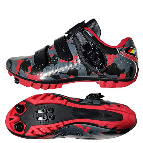 Tingxx Spring and Summer Men's and Women's Bicycle Power Shoes Hard Bottom Mountain Biking Sports Lock Shoes Camouflage_Red_Mountain_Lock_Shoes_47