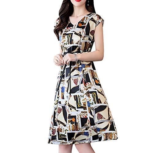 Valin V2207 Damen Bedrucktes Seidenkleid V-Ausschnitt Kurzarm Seiden Midi Kleid,Beige,L