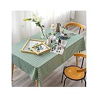 テーブルクロス 四角形チェッカーテーブルクロス - ルームとキッチンダイニングため、耐性防水と洗えるテーブルクロス長方形ステイン、緑のチェック柄の布 (Size : 140*140cm)