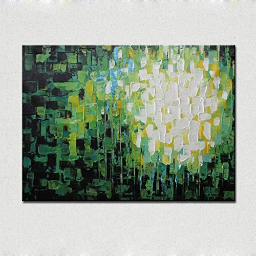YLNYH Grüne Diamanten Abstrakte Ölgemälde Messer Handmalerei Auf Leinwand DekorationFür Living Toom Wandkunst