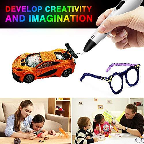 3d stifte, Parner 3D Stift mit 12 Verschiedenen PLA Farb Ersatzminen, 3D Pen für Kinder Sicher und Einfach zu Benutzen, 3D Stifte Set für Jung und Alt - 7