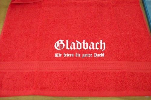 Gladbach - wir feiern die ganze Nacht; Städte Badetuch, rot