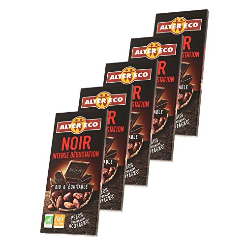 Alter Eco Chocolat Noir Intense Dégustation Bio & Équitable – Fruité & Légèrement Acidulé – 100 g - Lot de 5