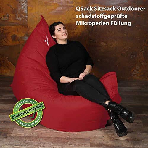QSack Outdoor Sitzsack XXL, Toxproof Mikroperlen, schadstoffgeprüft, 140x180 cm (Rot)