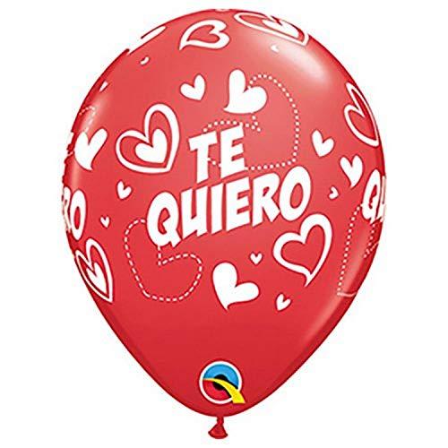 Qualatex - Bolsa de 25 globos qualatex r11 (27,94 cm) te quiero corazones rojo y rosa