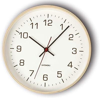 KATOMOKU plywood wall clock 4 電波時計 連続秒針 km-44NRC φ252mm
