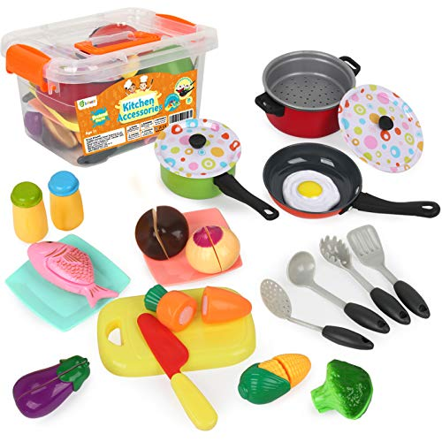 D-FantiX Play Kitchen Accessories, 24Pcs Kids Pretend Kitchen Cooking Toys Pots and Pans Playset with Cookware Utensils Food Set for Boys Girls Ages 2 3 4 5 6 7 Years Old