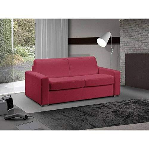 Canapé lit 3 Places Master Convertible Ouverture RAPIDO 140 cm Cuir Eco Rouge Matelas 18 CM Inclus