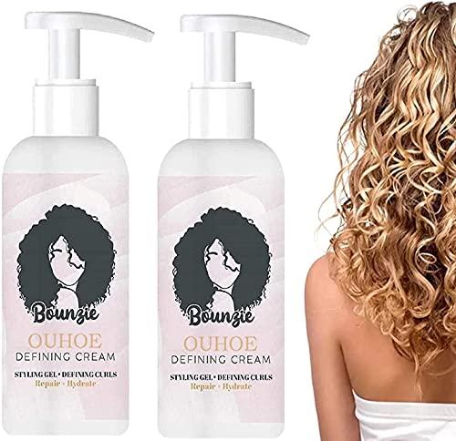 youfenghui 2pcs Bounziecurls Boost Defining Cream, Curl Boost Defining Cream Elastina para El Cuidado del Cabello, Gel De Peinado Crema De Definición De Rizos Ligera para Control De Frizz