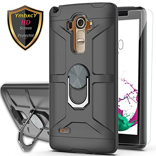 LG G Stylo Case,LG G4 Stylus Case (Not Fit LG G4) with HD Screen Protector YmhxcY 360 Degree Rotating Ring Kickstand Holder Dual Layers of Shockproof Phone Case for LG LS770-ZS Black