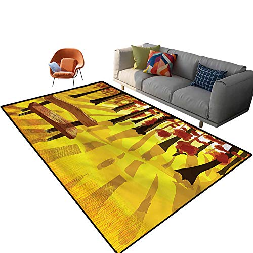 Indoor Room Forest Area Rugs,6'x 9',Cartoon Tree and Bench Floor Rectangle Rug with Non Slip Backing for Entryway Living Room Bedroom Kids Nursery Sofa Home Decor