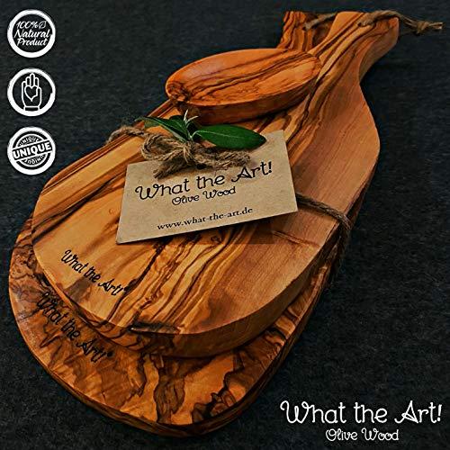 What the Art!® Olive Wood «Serrano Set» Gr. L | 2 Olivenholz Schneidebretter inkl. 2 Dip-Schälchen + Geschenk | ca. 30 x 13 & 37 x 18 cm | Bretterset - Käsebrett - Servierbrett - Küchenset