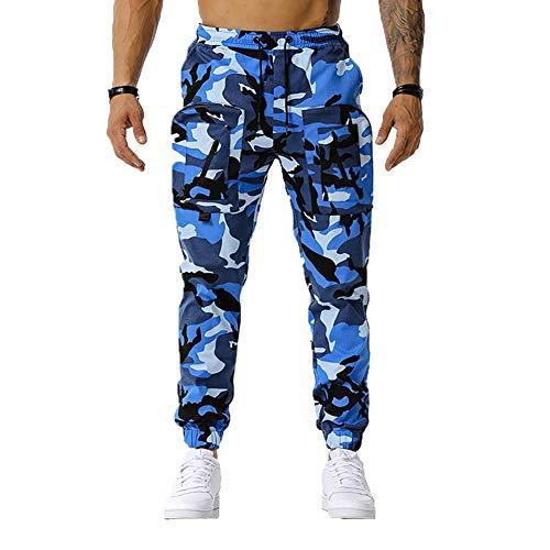 Chickwin Pantalones de Carga para Hombre Pantalón de Trabajo de Estilo Militar, Camo Casuales con Múltiples Bolsillos Pantalones Deportivos de Combate (Azul,L)