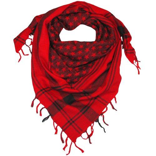 LOVARZI Frauen Halstuch Rot Sternen Schal für Damen und Herren - Baumwoll Damentuch und Herrentuch