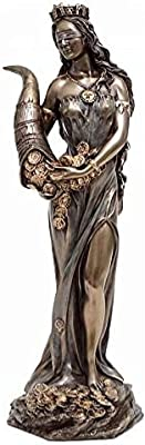 Veronese Collection, Hand Painted Fortuna Figure (32 cm), 32 cm Hard Polyresin (Marble Powder Mix) Trinket Figure