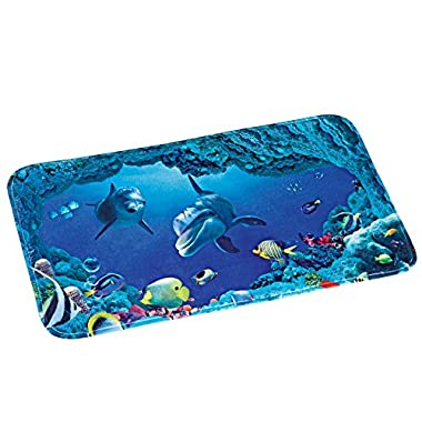 Collections Etc Dolphin Bay Ocean Life Cushioned Skid-Resistant Bath Mat, Blue