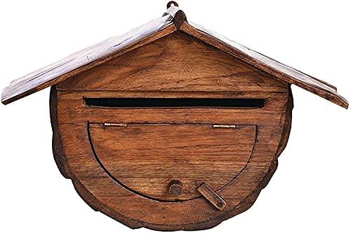 Qjkmgd Buzones de Letras Montado en Pared Caja de Correo de Madera Maciza Caja de Letras de la casa Villa al Aire Libre Impermeable de Madera Retro Postal Caja de Quejas (Color : Style1)