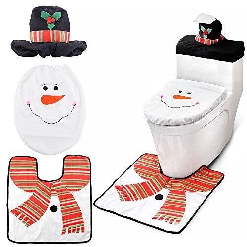 LD kerstdecoratie sneeuwpop Kerstmis toiletbril deksel tapijt badkamer mat set