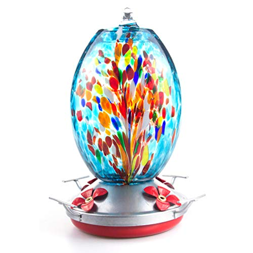 Muse Garden Hummingbird Feeder for Outdoors, Hand Blown Glass, 25...