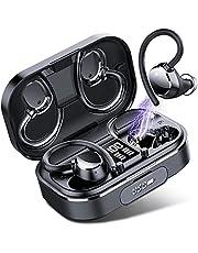 Coioc Draadloze Hoofdtelefoon, Bluetooth 5.1 Draadloze Oordopjes Bluetooth Hoofdtelefoon CVC8.0 Bass Noise Cancelling Hoofdtelefoon Sport IPX7 Running Hoofdtelefoon, Touch Control, 120 uur, 2600 mAh Opladen Case