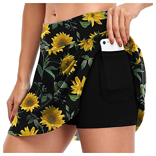 FUNEY Women's Knee Length Skirts Athletic Tennis Golf Casual Skorts Elastic Waist Skirts Inner Shorts for Running Workout