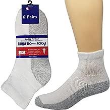 6 Pairs Diabetic Ankle Socks Reinforced Heel and Toe Non-Binding Cushion Socks for Men and Women White/Grey Sole 10-13 Debra Weitzner
