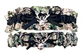 Camouflage Black Satin Wedding Bridal Garter Set - Deer Head Charm